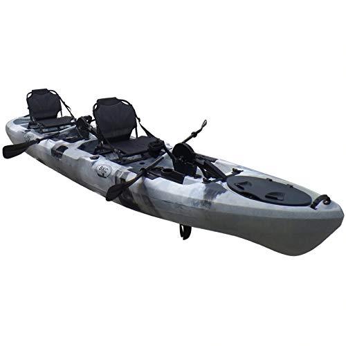 BKC PK14 Angler 14' Tandem Sit-On-Top Fishing Kayak, Propeller-Driven w/Instant Reverse Dual Pedal Drive, Rudder System, Paddles, and Upright Aluminum Frame Backrest Support Seats