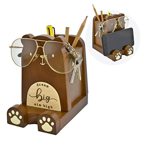"I'm Wood Multipurpose Eyeglass Phone Pen & Pencil Holder Stand Stationery Desk Box Organizer Accessories Decor, Home Office Desktop Decoration Birthday Graduation Gifts ""Dream Big Aim High"" (Bear)"