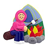 Personalized Camping Christmas Tree Ornament 2020 - Camper Girl Roasting Marshmallow First Child Camp Fire 1st Tent Summer Outdoor Activity Vacation Wood Home Away - Free Customization (Female)