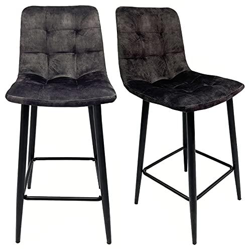Meubletmoi - Set di 2 sedie da bar imbottite, in velluto grigio antracite, con base e appoggio, gambe in metallo nero – NAMI