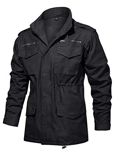 タクティカルジャケット メンズ コート ミリタリー トレンチコート マルチポケット 作業ジャケット 通勤 上着 耐久性 かっこいい ブラック 2XL