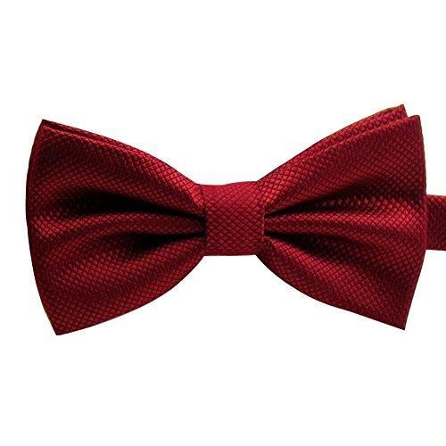 Ainow Pajarita con lazo para hombre, ideal para look más formal, forma ya atada Rojo rojo vino Talla única