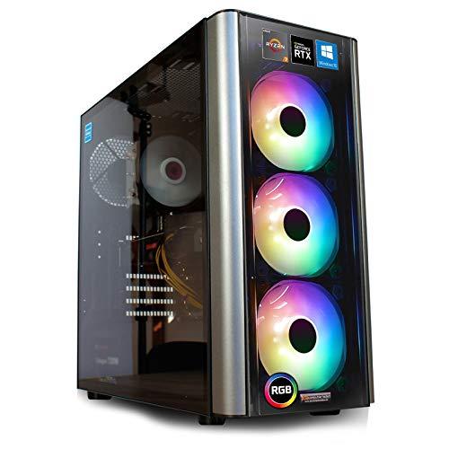 dercomputerladen R9-3950X - Ordenador para videojuegos (nivel 20, R5-3600 6 x 3,6 GHz, 16 x 3,5 GHz) negro RTX 2070 Super, 32 GB de RAM, 480 GB SSD + disco duro de 2 TB. AMD Ryzen 7-3700X 8 x 3,60 Ghz