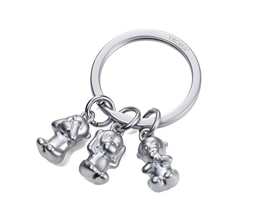 TROIKA THREE MONKEYS – KR17-18/MA – Schlüsselanhänger – Emoji Affe – 3 Affen – Nichts sehen, nichts hören, nichts sagen – Metallguss – matt – verchromt – silber – TROIKA-Original