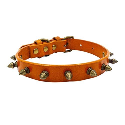Orange Pet Dog Collar Hondenhalsband, vintage, punk, studs van leer, voor kleine middelgrote honden en katten, draagriem, alle kragen, seizoenen, ademend, gezellig, licht outdoor, Large