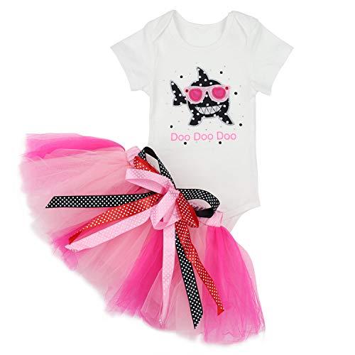 Baby Girls Birthday Shark and Doo Doo Doo Romper + Tutu Dress 1st Birthday Outfit Set 12-18 Months Pink