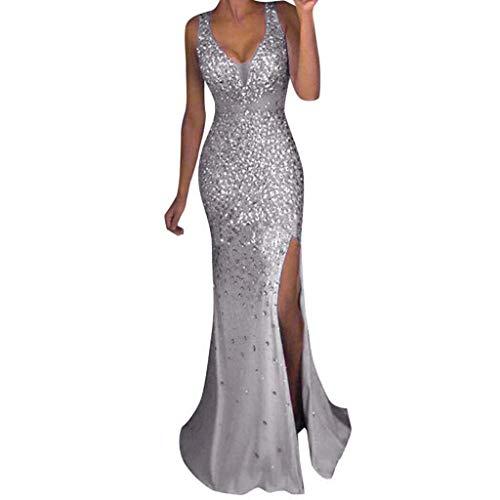 Auifor vrouwen sequin prom party baljurk aantrekkelijk goud avond-bruidsmeisje V-hals jurk