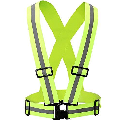 CoWalkers Chaleco reflectante con bandas de alta visibilidad, ajustable y elástico | Seguridad y alta visibilidad para correr, trotar, pasear perros, andar en bicicleta | Se adapta a la ropa al aire libre - Chaqueta de moto (Verde)