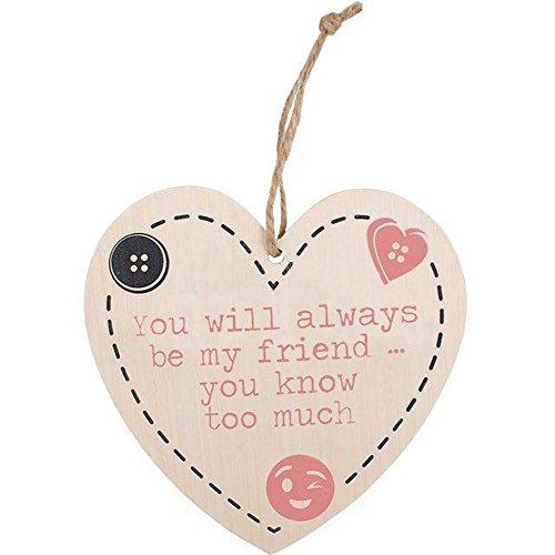 Something Different Herz zum Aufhängen mit Aufschrift You Will Always Be My Friend (Einheitsgröße) (Bunt)
