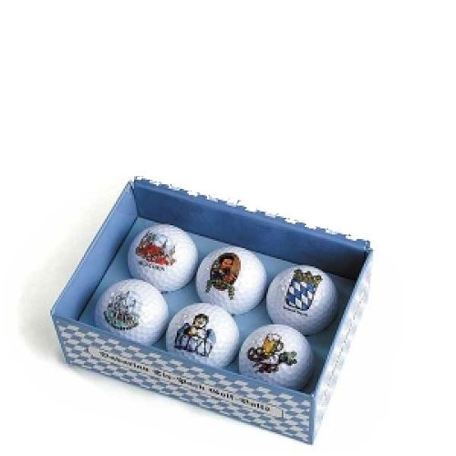 Bayerischer Sechs-Ball Golfball, Bayerischer Golfball Design in Blau / Weiß Golfball-Box, 6 Mark Golfbälle als Golf Geschenk Golf Geschenk Golf Geschenk