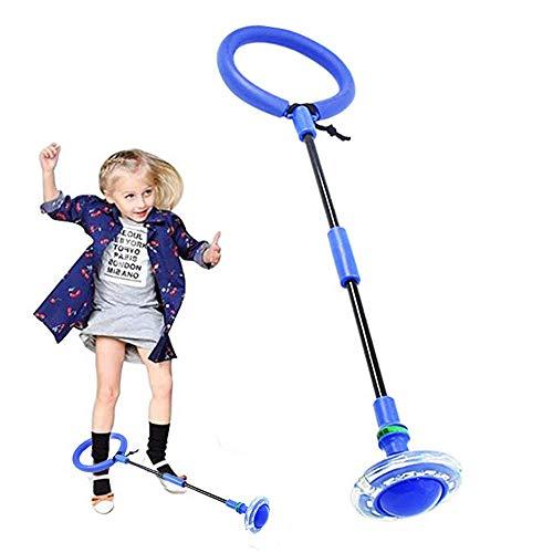 Knowing Bola de Salto de Tobillo, Anillo de Salto Intermitente, LED Plegable Saltar Bola, Colorida Anillo de Salto de Tobillo, para Niños Juegos Divertidos para Adultos Deportes Aire Libre (Azul)