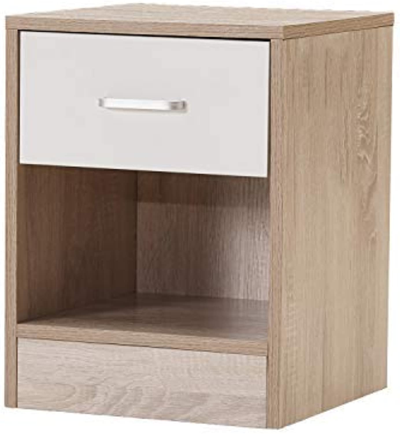 Night Stand Accent Table with Drawer and Cabinet for Storage (BASS-1BH-DC)