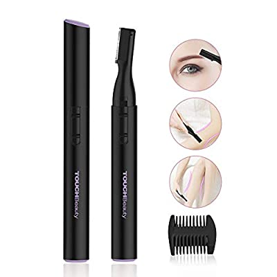 TOUCHBeauty Electric Eyebrow Trimmer, Ladies Eyebrow Shaver for Women and Men Battery Powered - Replaceable Stainless Steel Blade (Black) TB-815 by TOUCHBeauty