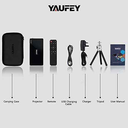 Yaufey - Mini proyector DLP inalámbrico portátil para videocine casero con bolsa de transporte y trípode, batería integrada compatible con sistema Android, Wifi, 1080P, altavoz Bluetooth, HDMI USB TF miniatura