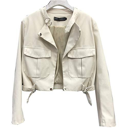 Laoling Streetwear, Chaqueta de Cuero PU con Lavado de imitación para Mujer, Ropa de otoño para Motocicleta, Chaqueta Informal de Cuero para Motociclista, Abrigo para Mujer