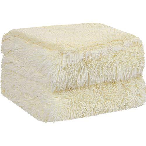 PiccoCasa Kuscheldecke Doppelseitige Langhaar Decke Kunstfell Sherpa Decke Tagesdecke Sehr weich als Bettüberwurf Bettdecke Sofadecke für Doppelbett Sofa usw. Hellgelb 130x150cm