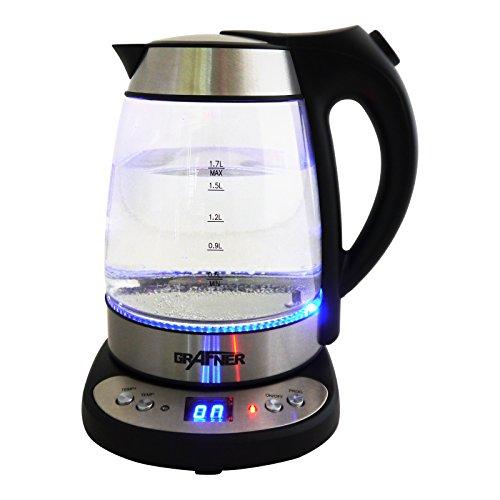Grafner Digitaler Wasserkocher mit Temperaturwahl und Warmhaltefunktion, 1,7 Liter, Edelstahl-Heizelement, LED-Beleuchtung, BPA-frei, 360° Basis, schwarz