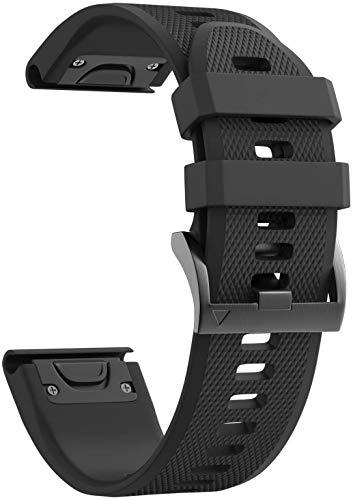NotoCity Compatibile con Cinturino Fenix 5X Easy Fit 26mm Silicone Braccialetto per Fenix 5X/Fenix 5X Plus/Fenix 3/Fenix 3 HR (Nero)