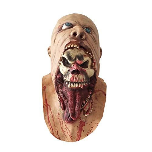 Beaupretty Máscara de Halloween Máscara sangrienta Zombie Cara Derritirse Miedo Látex Caminando Muerto Disfraz de adulto Cara Apoyos de fiesta