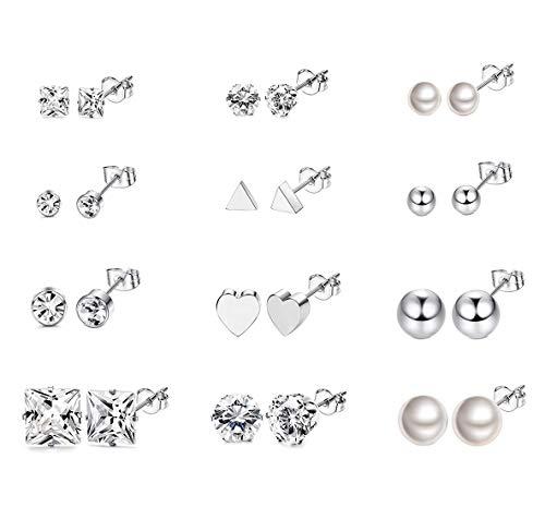 sailimue 12 Paires Boucles d'oreille en Acier inoxydable pour Femme Filles Ballon Cœur Triangle Faux Perle CZ Clou d'oreille