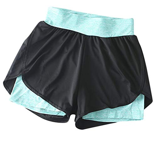 Smileyth Women's High Waist Yoga Shorts with Liner 2 in 1 Active Gym Athletic Fitness Running Sports Pants