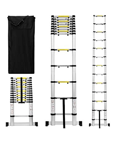 UH-TL189 12.5ft Aluminum Telescoping Extension Ladder with Finger Save Stoppers, Safety Stabilizing...