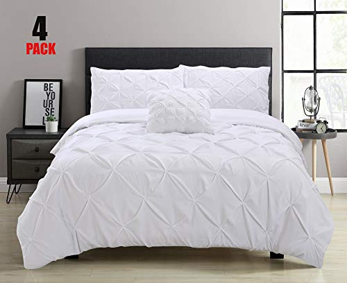 Aaryan Linen Pinch Pleat Pintuck Duvet Cover Set with Zipper Closure includes Pillow Cases and a Complementary Pintuck Cushion Cover - Set of 4 (White, King)