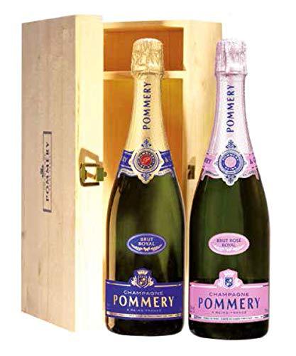 Duetto Champagne POMMERY Brut Royal e Rosè Royal – Idea Regalo: Compleanno, Anniversario, Fidanzamento, San Valentino, Pensionamento, Festa del Papà – Cod 384