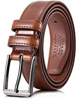 Gallery Seven Mens belt - Genuine Leather Dress Belt - Classic Casual Belt in gift box - Burnt Umber - 52 (Waist: 50)