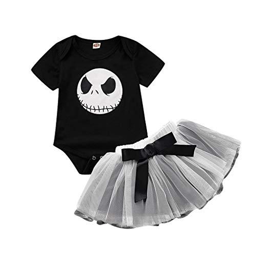 MYONA Vestido de Halloween Nina, Bebé Mono Mameluco Impresión de Mueca de Halloween Negro + Tutú...