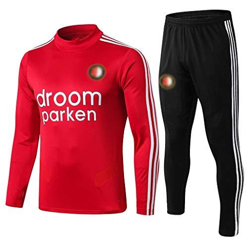 Jinjuntech Fans Trikots Exklusiv! Herren-Rundhalsausschnitt Sport Frühling Und Sommer-Langarm-Breathable Sport-Shirt Rot Outdoor-Freizeit Fußball-Trainingsanzug -WEO063 (Color : Red, Size : M)