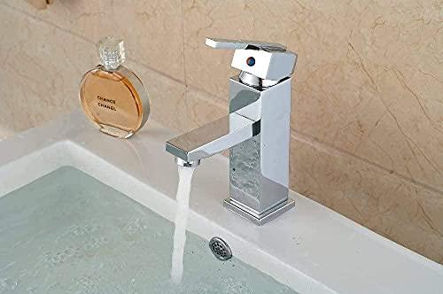 Grifo Grifo Monomando Con Orificio De Latón Cromado Lavabo De Baño Facuet Grifo Mezclador Cuadrado