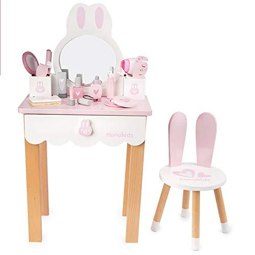 JYBD Kinder Schminktisch Set,Spielzeug Schminktisch aus Holz für Kinder mit Spiegel Hocker und Schubladen