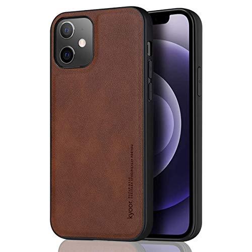 kyoor. Premium - Funda de diseño piel para iPhone 12 / iPhone 12 Pro (6,1 pulgadas), diseño vintage, color marrón