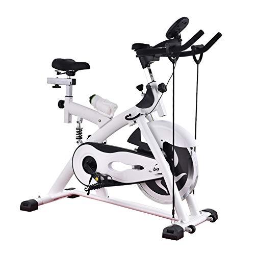 NFJ Bicicleta Indoor Spinning Ergonómica,Resistencia Regulable, Bici Entrenamiento Fitness con Sillín Ajustable, Pantalla LED,máx.180kg,B
