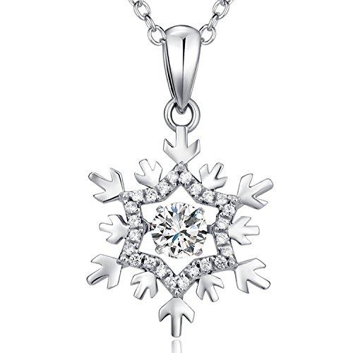 jiamiaoi Kette Silber 925 Damen Schneeflocke Anhänger Halskette Silber Kette Schmuck Zirkonia Kette Tanzen Diamant Kette Schneeflocke Kette Silber Damen Weihnachts Kette