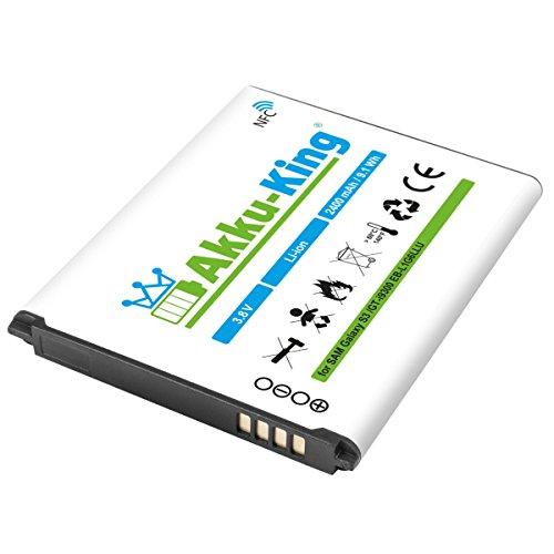 Akku-King Akku kompatibel mit Samsung EB-L1G6LLU - Li-Ion 2400mAh (mit NFC) - für Galaxy S3 GT-I9300, S3 i9301 Neo, S3 LTE GT-i9305