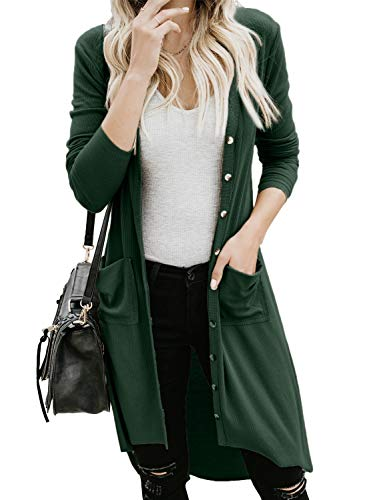 GOSOPIN Damen Strickjacke Casual Cardigan Mantel Strickpullover Langarm Coat Jacke (Grün, S)