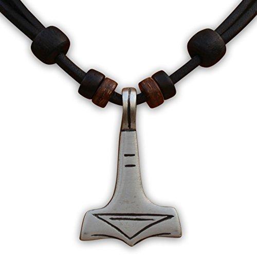 HANA LIMA ® Lederkette Thorshammer Thor Hammer Mjölnir Herrenhalskette