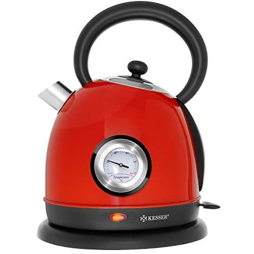 KESSER® Wasserkocher Edelstahl | 2200W | BPA frei | 1,8 Liter | Retro Design | Überhitzungsschutz | Teekocher Teekessel Kocher | Cool-Touch-Griff | kabellos | Temperaturanzeige | Rot