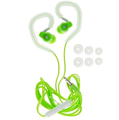 Sport Jogging Ohrbügel Kopfhörer Headset mit Freisprechfunktion In-Ear mit 6x Silikon Aufsatz grün