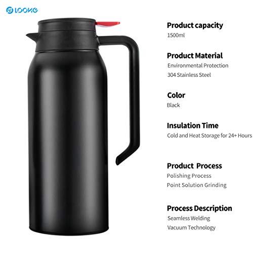 Edelstahl-Thermosflasche 1,5 L Isolierkanne Thermoskanne Quick Tip Verschluss 100% Dicht und kompakt 24 Stunden kalt und heiß Trinkflasche für Kaffee Tee Outdoor Reisen Sport - gefrostet Schwarz