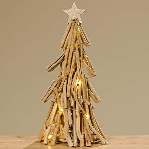 Boltze Tannenbaum Treibholz Tanne Weihnachtsbaum Skulptur mit LED-Beleuchtung batteriebetrieben 50cm