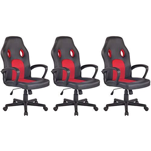 Lüllmann - Silla de oficina giratoria (3 unidades), color negro y rojo