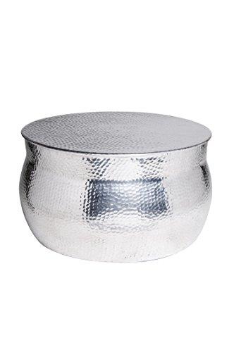 MAADES Wohnzimmertisch Couchtisch rund modern aus Metall ø 60cm | Marokkanischer runder Vintage Tisch aus Aluminium für Ihre Wohnzimmer | Moderner Design Sofatisch in Silber Hochglanz -Leela ø 60cm