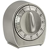 Chef Select Mechanical Timer, 60 Minutes, Minute Warning Alert, Non-Slip Dial, Stainless-Steel, Great for Board Games, Exercise, or Anytime You Need a Timer