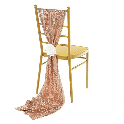 NNBX Sequin Chiffon Long Chair Skirt Tutu Tulle Sach Chair Cover or Table Runner for Party Sinple Wedding Decoration (Champagne)