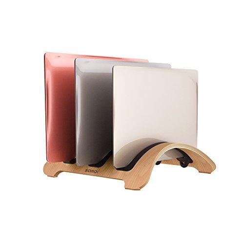 SAMDI Vertikale Laptop-Ständer, woodmacbook Schutzhülle Laptop-Halter mit 3 Slots mehr Desktop platzsparend für Apple MacBook Air Pro Notebooks White Birch