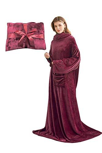Kuscheldecke mit Ärmeln und Taschen, Geschenke für Frauen, Geburtstagsgeschenke für Mama, Schwester, Freundin, Einweihungsgeschenke Couch, Sofa-Decke, TV-Decke 150x200 cm (Bordeaux)
