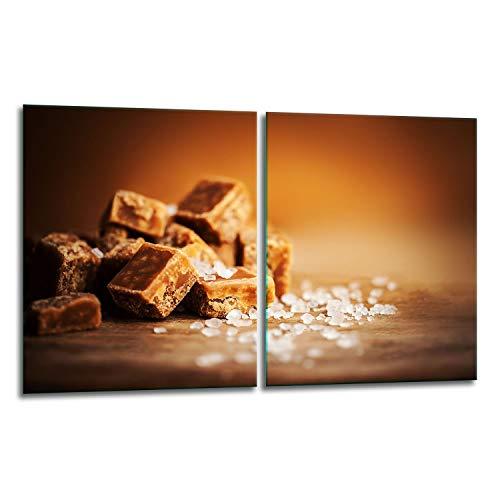 TMK | Juego de 2 placas de 40 x 52 cm para vitrocerámica, cubierta de cristal, protección contra salpicaduras, placa de cristal, cubierta para vitrocerámica, tabla de cortar, diseño de dulces